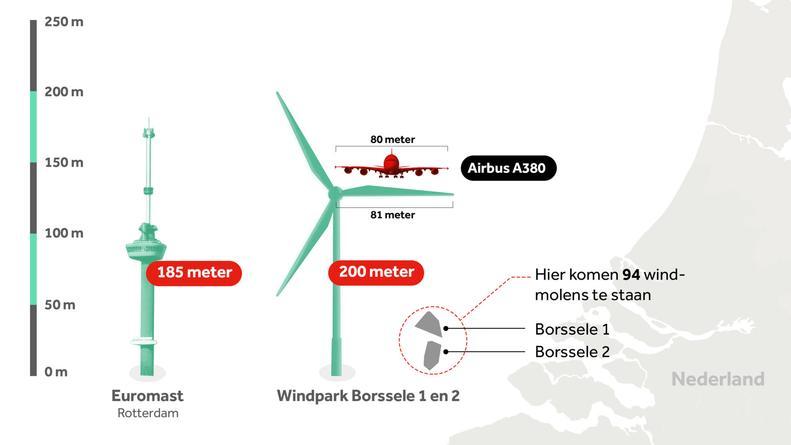 De afmetingen van de beoogde windmolens in de Noordzee.  Afbeelding NOS