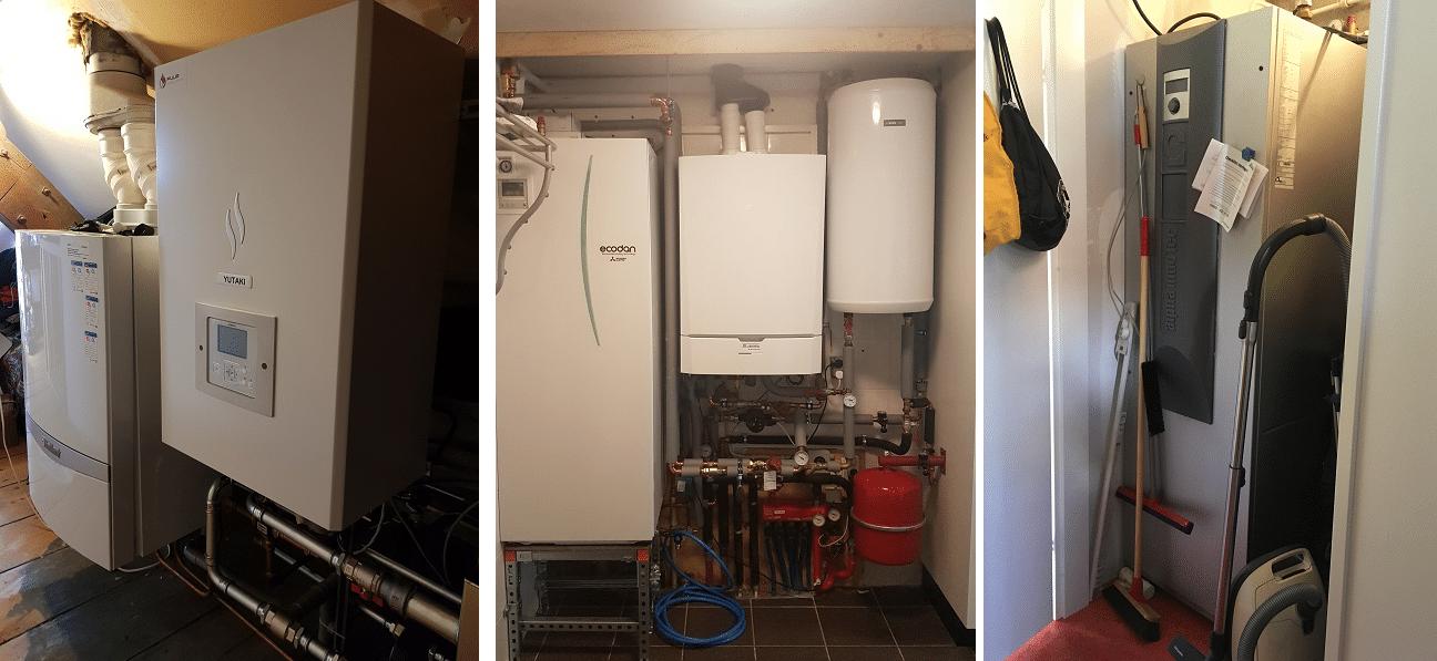 Van links naar rechts: de opstellingen van een luchtwarmtepomp, een hybride warmtepomp en een waterwarmtepomp. Bron: hierverwarmt.nl