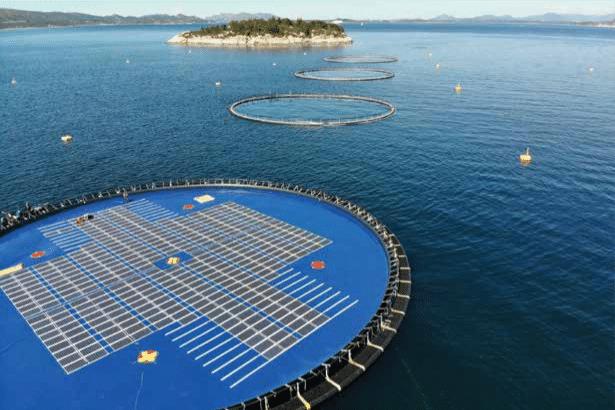 Noorse visfarm voor de kust, deels bedekt met zonnepanelen. Bron: Wereldbank